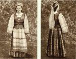 M.Glemžaitė. Lietuvių tautiniai drabužiai. Vilnius, 1955. Aukštaitės-vilnietės merginos tautiniai drabužiai (iš priekio ir nugaros)
