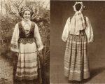 M.Glemžaitė. Lietuvių tautiniai drabužiai. Vilnius, 1955. Aukštaitės-vilnietės moters tautiniai drabužiai (iš priekio ir iš nugaros)
