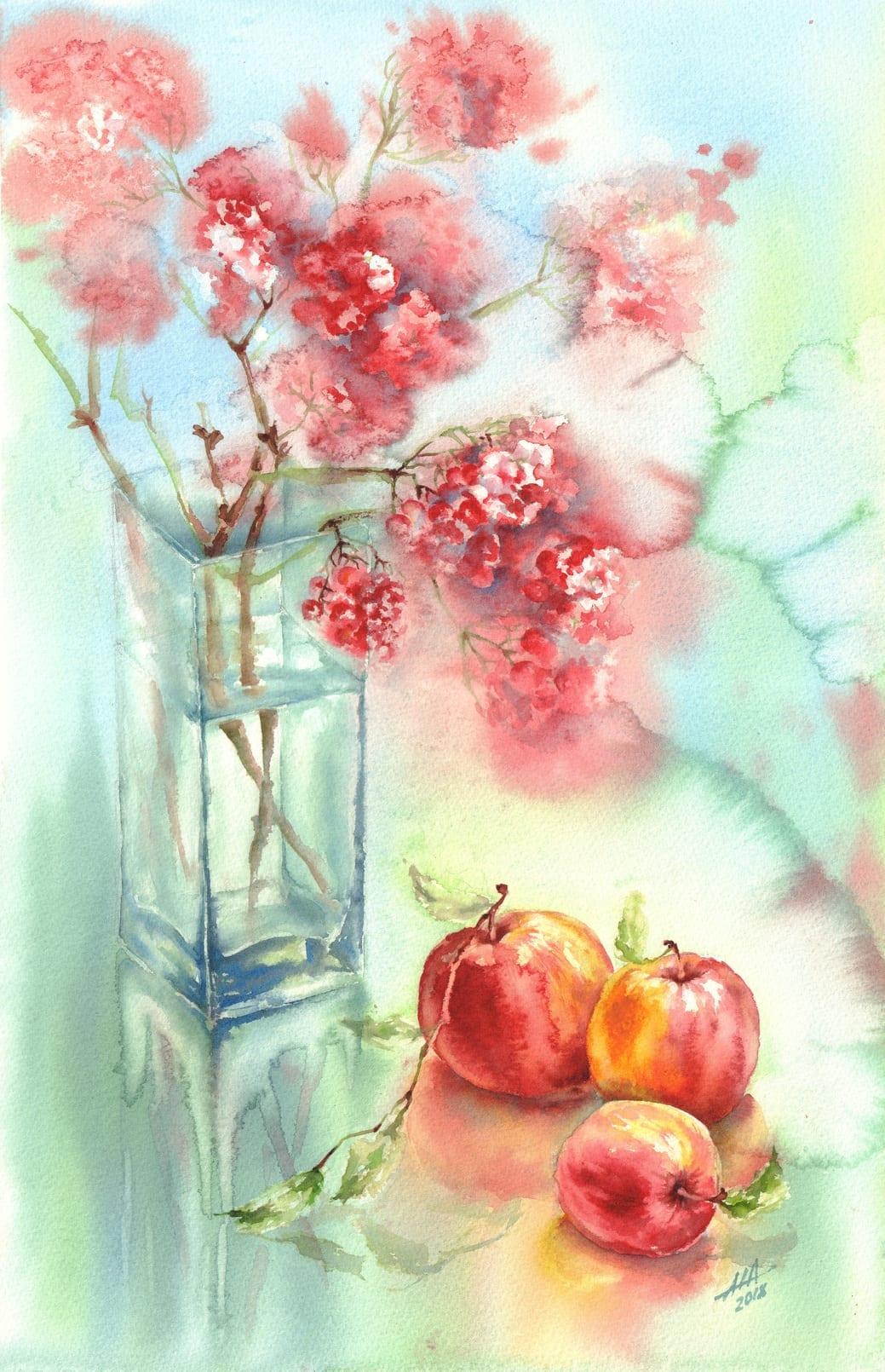 Obuoliai vaza